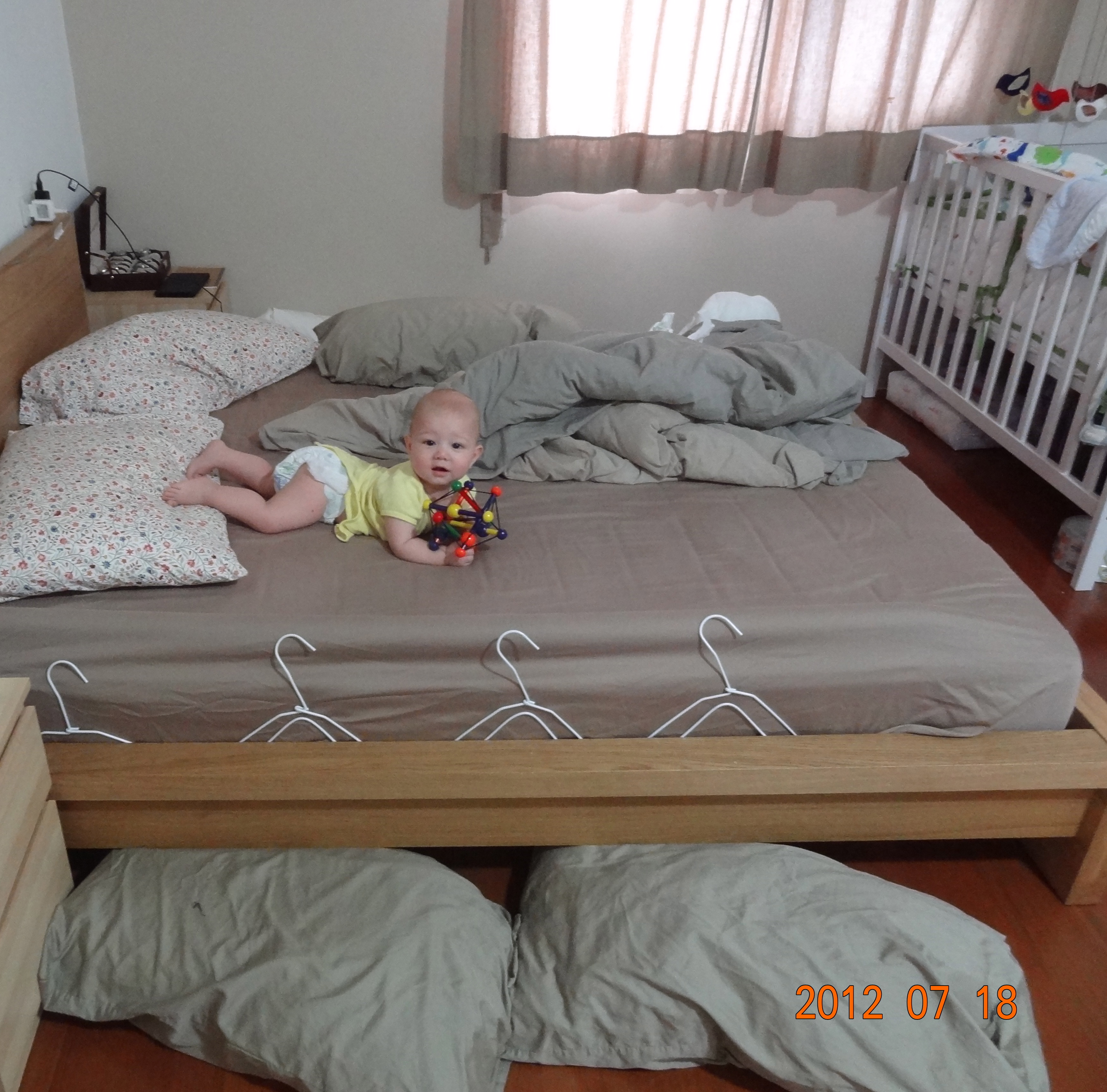 DIY baby Bedrail with swimming noodle   When the diaper leaks